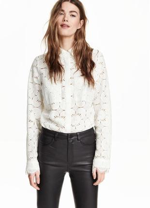 Шикарная кружевная блуза h&m - европ. 42 - можно на 14, 16