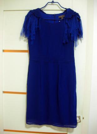 Шикарное платье с плетеными погонами и бахромой р.s-m fever london 10, 38