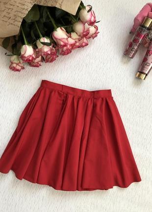 Красная юбка солнце клеш м- размер
