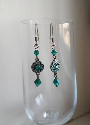 Зеленые бирюзовые сережки accessorize