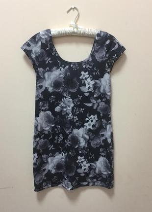 Платье футболка / туника в цветочный принт (монохромное) рэтро стиль