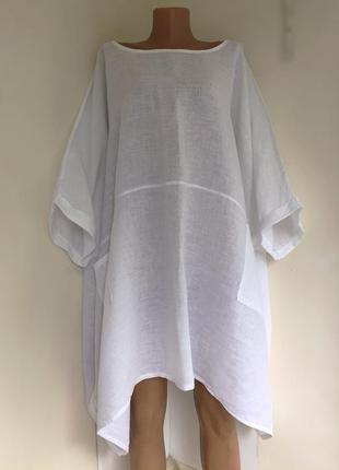 Платье туника объёмная, модель батл, натуральный лён.