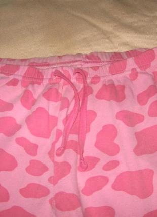 Пижамные штаны светло-розовые в темное розовых фигурках
