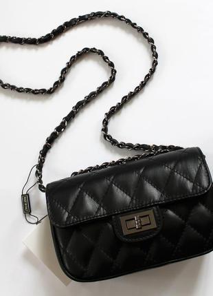 Стеганая черная кожаная (натуральная кожа) сумка, италия