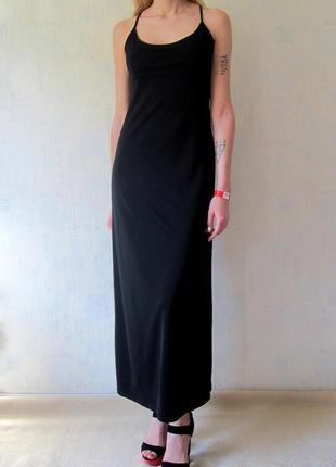 Длинное черное платье в пол на брительках ragazza