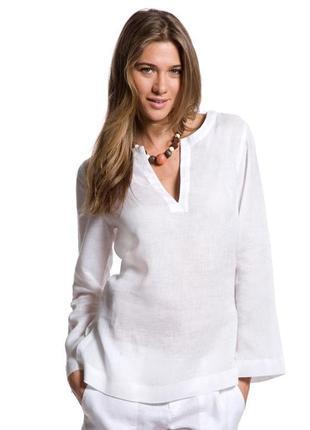 Летняя рубашка / льняная туника (лён + хлопок) от любимого бренда - пляжная