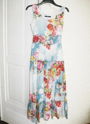 Платье летнее яркое зелёное с цветами gloria jeans можно для беременных