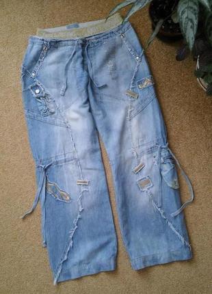 Прикольные джинсовые штаны свободного кроя