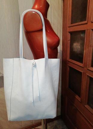 Большая итальянская кожаная сумка-шоппер