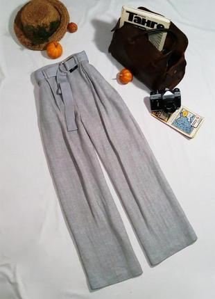 Невероятно актуальные широкие льняные брюки с завышенной посадкой (см. замеры)