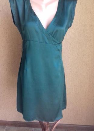 Изумрудное шёлковое платье на запах 1+1=3