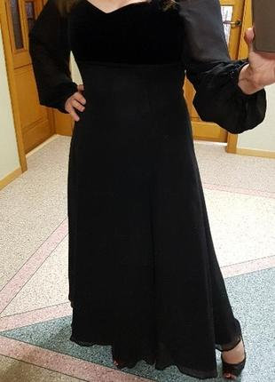 Комбинированное длинное черное платье laura ashley, р. 12