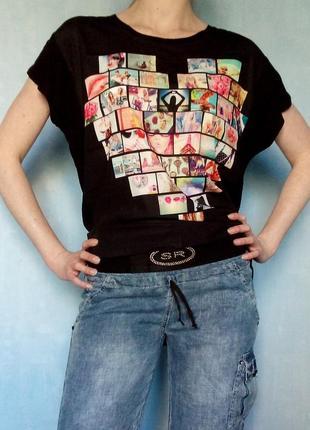Шкодная летняя футболка с принтом сердце