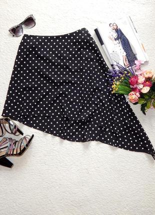 Асимметричная юбка в горошек topshop с хвостом сбоку