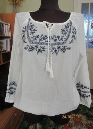 Блуза вышиванка,марлевка,12- 14 р-р,100% коттон