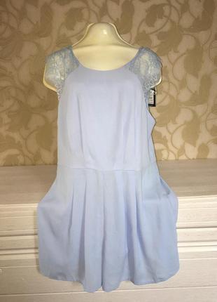 Комбинезон - платье с гипюром нежно голубой
