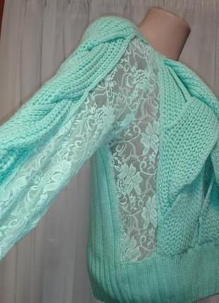 💣вязаный красивый бирюзовый свитерок сгипюром кружевом
