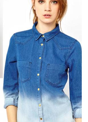 """Джинсовая женская рубашка с """" омбре"""""""
