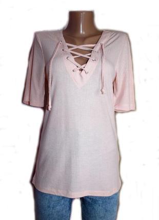 Блуза кофточка / рубашка футболка / в рубчик, пудра нюд, с завязками шнуровкой / турция, м