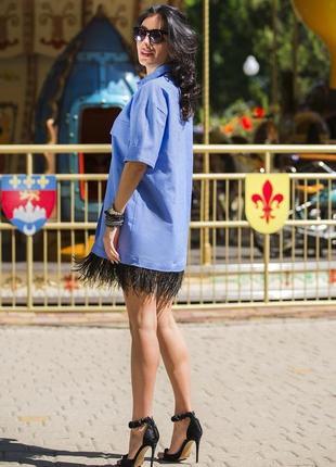 Платье лён с перьями страуса