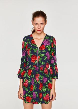 Платье zara  короткое в цветочный принт