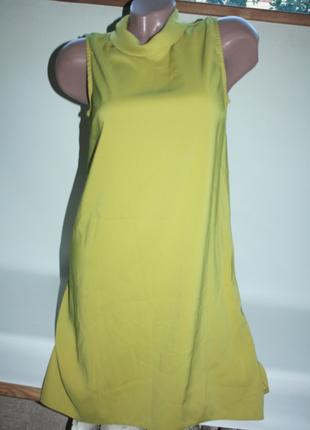 Платье горчичное желтое с горловиной удлиненная спинка dorothy perkins 10р (к028)