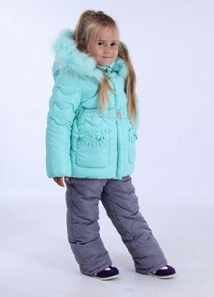 Зимняя курточка и полукомбинезон для девочки кико kiko 74-98