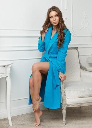 Махровый бирюзовый женский халат 100% хлопок