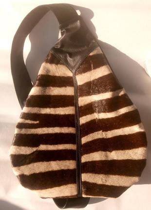Классный рюкзак naxara натуральная кожа мех оленя сумка
