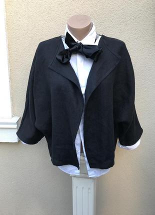 Чёрный,укорочённый,льняной жакет,пиджак,кардиган , лён 100%,дизайнер,бренд