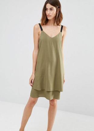 Warehouse платье цвета хаки на бретелях! 100% вискоза