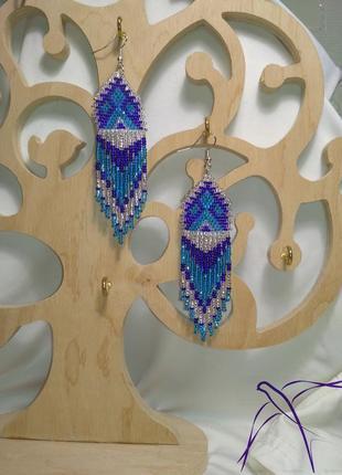 Синие серьги в этно стиле