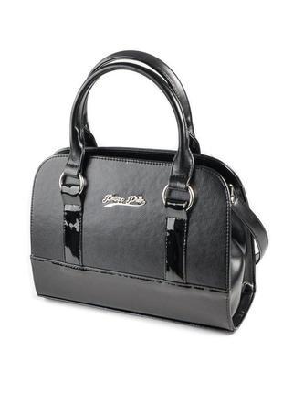 Черная деловая сумка саквояж женская с лаковыми вставками через плечо