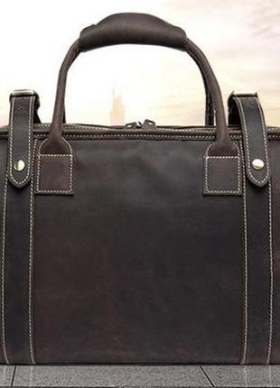 Стильнаякожаная дорожная винтажная коричневая сумка-саквояж ручная работа