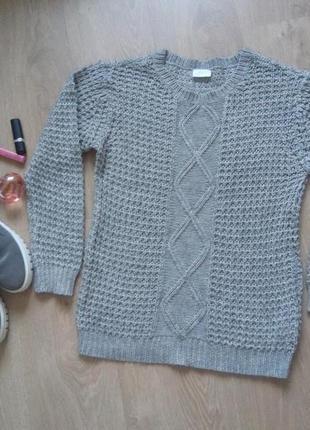 Серый свитер пуловер оверсайз крупная вязка vila clothes