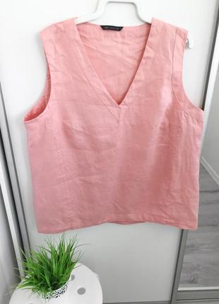 Топ буза рубашка майка льняная 100% лён пудровая розовая большой размер