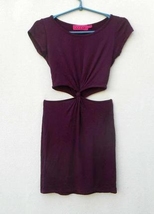 Летнее облегающее платье из вискозы цвета марсала