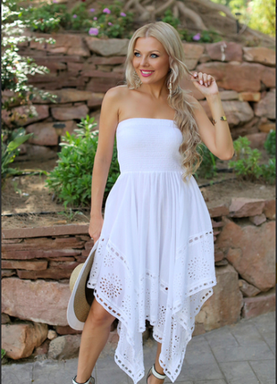 Изящный белый летнее платье, сарафанчик indiano, fresh-cotton 614, free-size