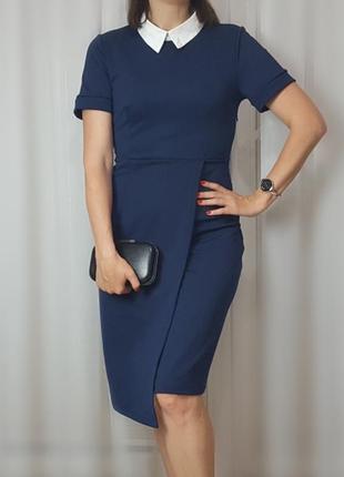 ❤️ стильное синее офисное платье / размер м