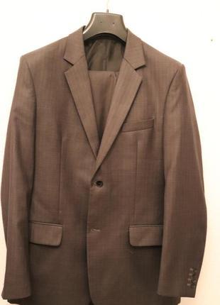 Новый классический костюм 2-ка (пиджак и брюки), 53% шерсть, 27% вискоз