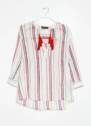 Натуральная блуза рубашка бохо этно стиль с бисером и кистями с кисточками как вышиванка