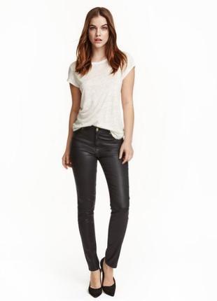 Брюки скинни джинсы с напылением высокая талия