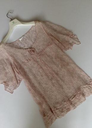 Нежная блуза туника розовая