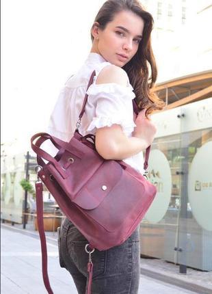 Кожаный женский рюкзак, рюкзачок. кожаная сумка, сумочка