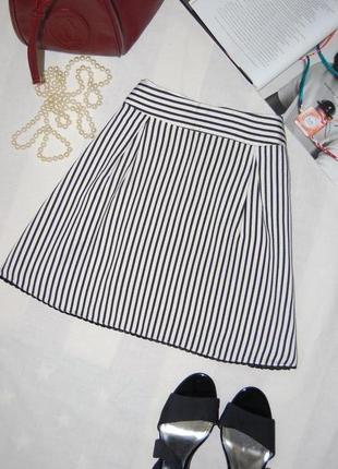 Расклешенная юбка/юбка трапеция в актуальную полоску размер 8/36/s
