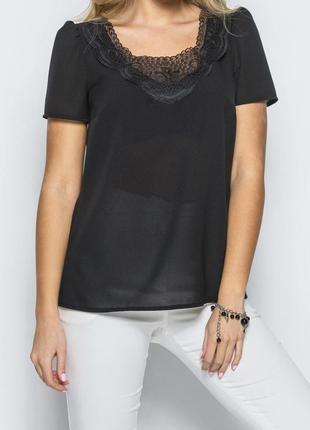 Воздушная черная блуза от molegy, креп-шифон, р.42-44
