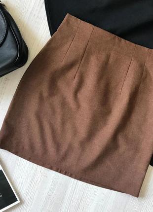 Полушерстяная мини юбка по фигуре теплая юбка на осень sandwich brand