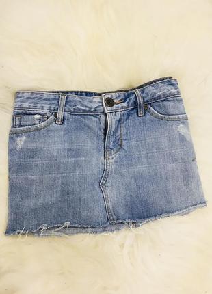 Юбка джинс с необработанным краем