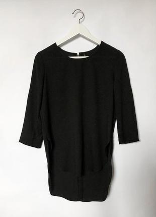 Шифоновая черная блуза с молнией на спине stradivarius