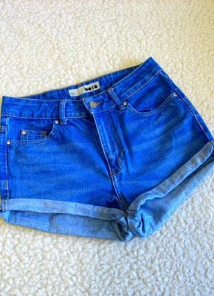 Ярко-голубые джинсовые шорты с высокой посадкой topshop moto